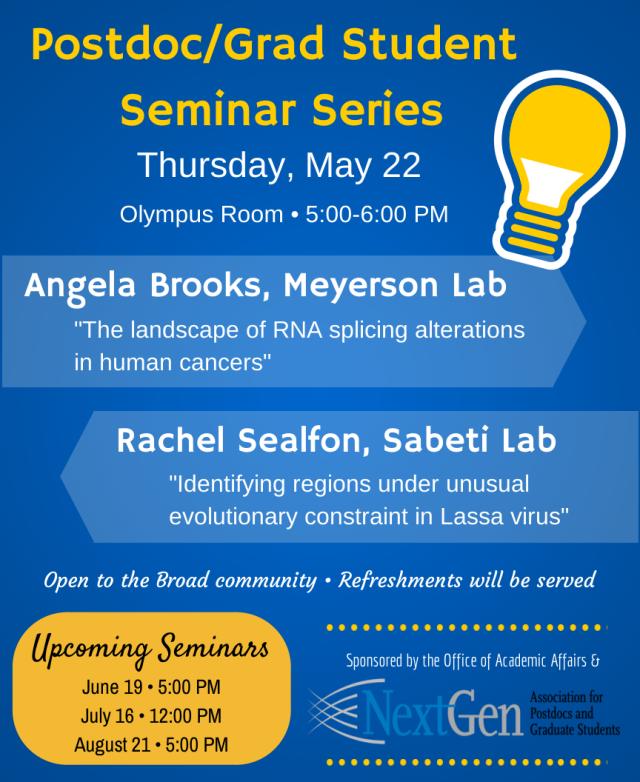 Postdoc-Grad Student Seminar Series